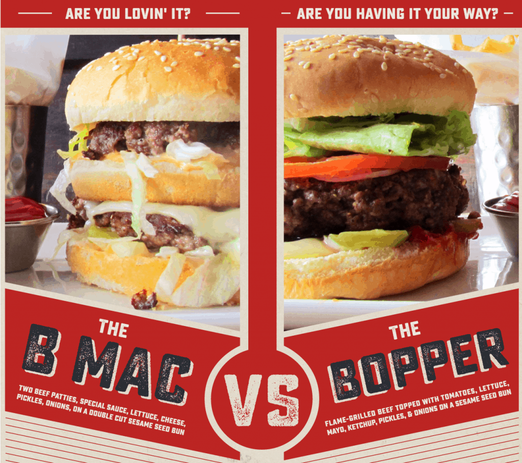 b mac versus bopper burger battle mcdonald's burger king