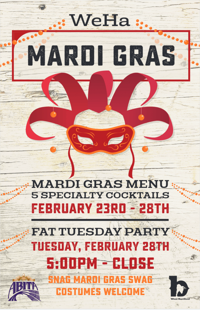 Mardi Gras Menu at b West Hartford